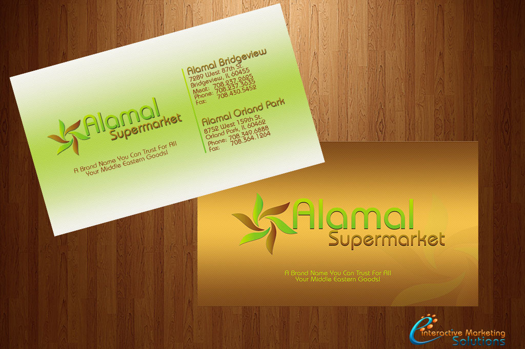 Print design concept design and printing alamal supermarket business card design reheart Image collections