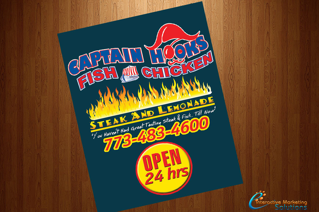 Print design concept design and printing for Captain hooks fish chicken
